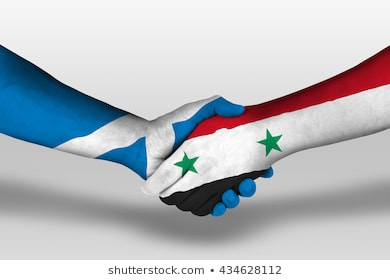 handshake-between-syria-scotland-flags-260nw-434628112